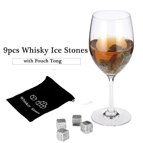 9pcs Whiskey Stones Whiskey Ice Stones Drinks Cooler Cubes Beer Rocks With Wood Case Pouch and Ice Clip Barware Bar Tool 2 Glass