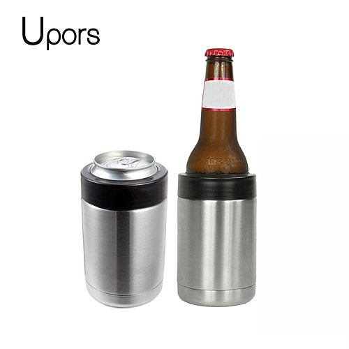 UPORS 12OZ Beer Cooler 304 Stainless Steel Beer Bottle Can Holder Double Wall Vacuum Insulated Party Slim Beer Colder Keeper