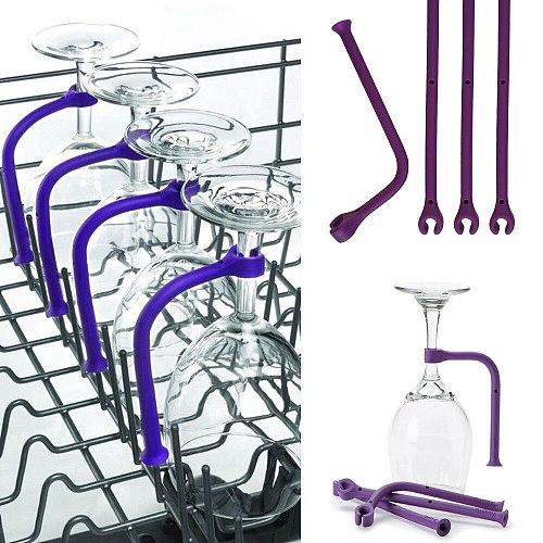 4Pcs Adjust Flexibly Silicone Wine Glass Dishwasher Goblet Purple Holder Safer Stemware Saver #25 eR