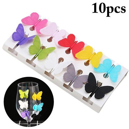 10pcs/Set Creative Cute Wine Glass Charm Suction Butterfly Decorative Wine Glass Marker Wine Glass Tag Bar Accessories