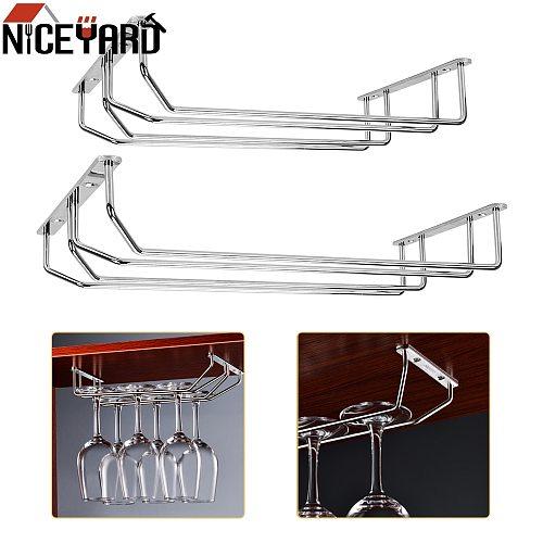 NICEYARD 27cm/34cm Stainless Steel Wine Glass Rack Stemware Holder Hanging Goblet Holder Shelf Under Cabinet for Home Bar Pub