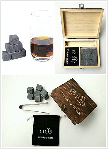 9Pcs/lot Whisky Stone with Wooden Box& Velvet Bag Whiskey Coolers Rocks Stones Cube Stone Christmas Gift