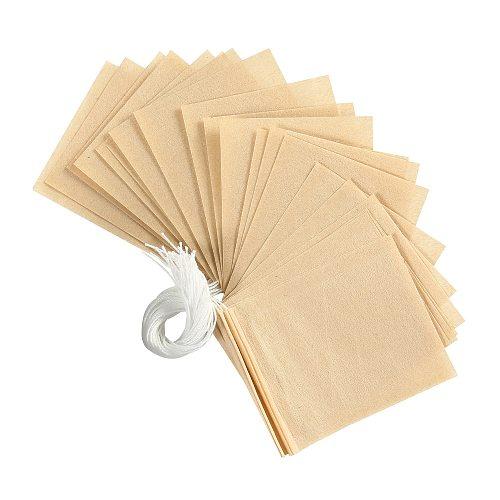 100pcs/lot Tea Bag Filter Paper Bags Heat Seal Teabags Tea Strainer Infuser Wood Drawstring Tea Bag for Herb Loose Tea 3 Sizes