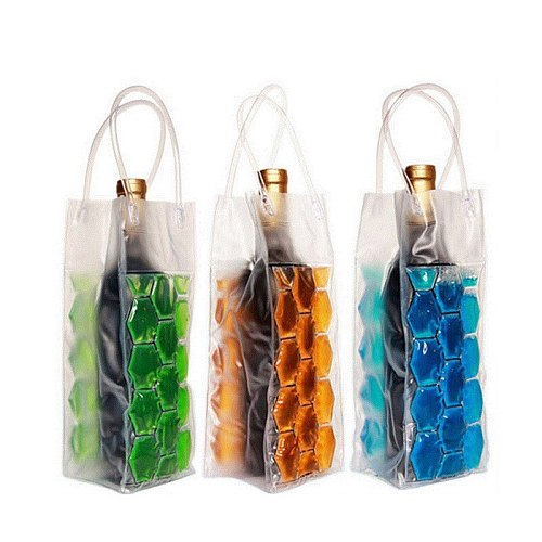 1PC PVC Wine Bottle Freezer Bag Champagne Cooler Beer Cooling Gel Ice Carrier Holder With Handles Portable Liquor Ice-cold Tools