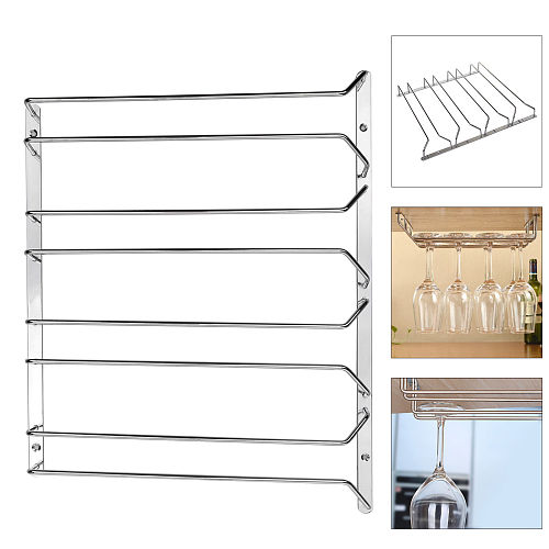 1/2/3/4 Row Stemware Glasses Under Cabinet Shelf Wine Storage Rack Holder Hanger New