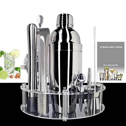 Bartender Kit with Stylish Rack 1-12 Piece Cocktail Shaker Set Professional Stainless Steel Bar Tool -Cocktail Recipes Booklet