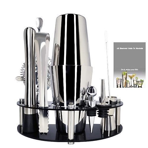 Boston Bartender Kit with Stand: 1-11Pcs Stainless Steel Cocktail Shaker Set, Professional Home Bar Tools