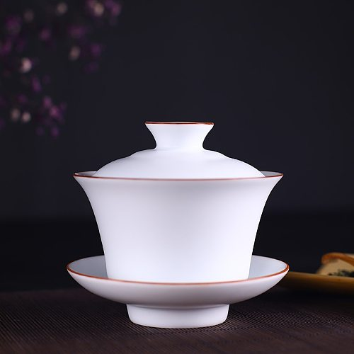 Chinese Teaset Tea Ceremony Chinese Traditional Tea Sets Brief Pure White Porcelain Gaiwan Ceramic Cover Bowl Pu'er Teawares