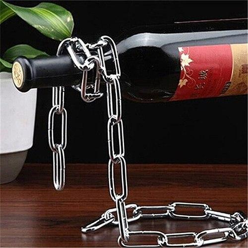 Magic Metal Suspension iron Chain Wine Racks European Retro Creative Handmade Restaurant Bar Stand Bracket Display Stand