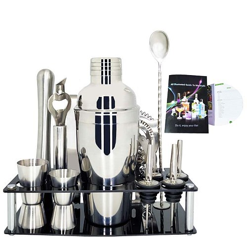 Stainless Steel 550/750ML 1-13Pcs Cocktail Shaker Jigger Ice Tong Pourer Spouts Jiggers Strainer Stick Rack Bar Cocktail Recipe