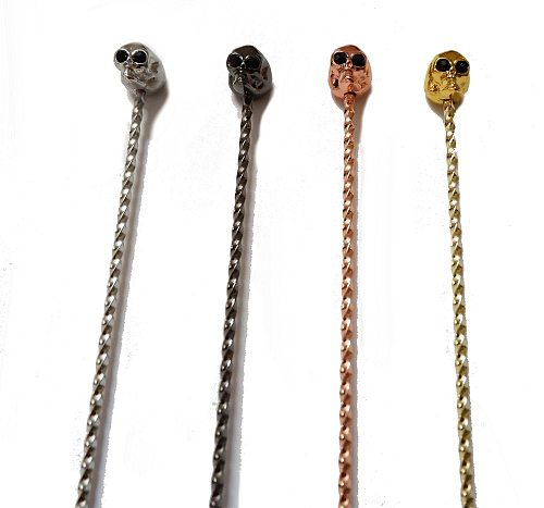 Free Shipping Skull Barspoon Cocktail Bar Spoon Stainless Steel Mixing Cocktail Spoon, Spiral Pattern