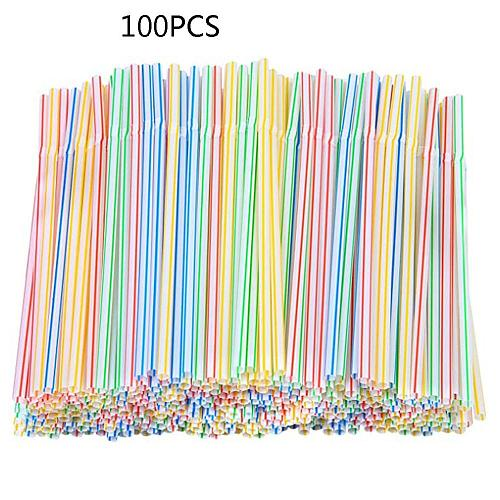 100Pcs 21cm Colorful Disposable Plastic Curved Drinking Straws Wedding Birthday Party Bar Drink Accessories