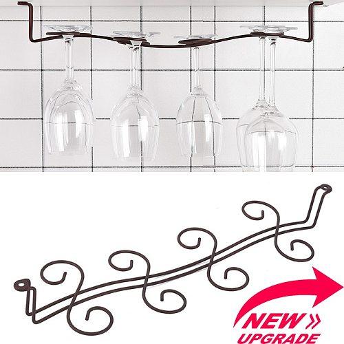 8 Cups Metal Vintage Bronze Wine Glass Rack Holder Stemware Hanging Under Cabinet Kitchen Bar Champagne Wine Cup Storage Shelf