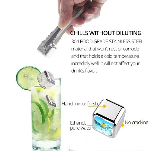 Reusable Ice Cubes For Drinks -Metal Ice Cube - Chills Drinks Without Diluting Them -  With Storage Tube with Tongs and Tray