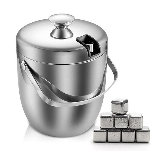 Ice Bucket, Insulated Stainless Steel Double Walled Ice Bucket 2.8L with Lid  and Whiskey Chilling Stones for Beer Wine Cooler