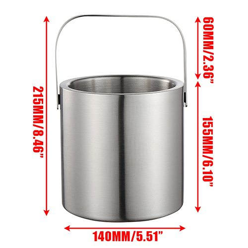 130ml Ice Bucket Set Stainless Steel Ice Container Double Walled Ice Bucket Container with Tongs Tweezer LidDrink Cooler