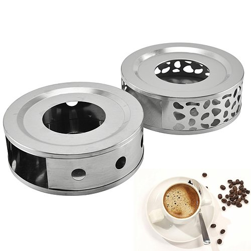 Tea Warmer Hollow Out Stainless Steel Heater Household Tea Stand Candle Base for Teapot Cups 18.5cmx5cm