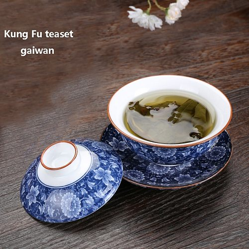 Retro Blue and White Porcelain Gaiwan Cover Bowl Tea Cup Ceramic Sancai Tea Set Household Thick Heat-resistant  Kung Fu Teaset