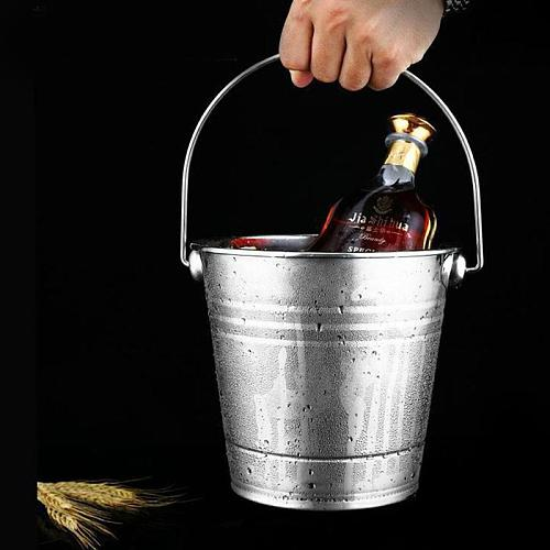 Stainless Steel Ice Bucket Portable Ice Chiller Cooler with Handle Ice Cube Container for Wine Champagne Beer Party Bar Tools