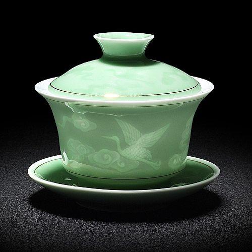 2020 Hand Painted Jade Porcelain Ink bamboo Ceramic Gaiwan Chinese teaset Teaware Tureen Sancai Tea Cup Pu'er Kettle