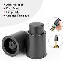 Black ABS Vacuum Wine Bottle Stopper Sealed Storage Vacuum Memory Wine Stopper Push Style Bar Tools Barware Wine Cork