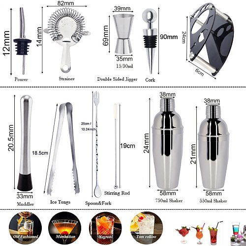 750/550ml Cocktail Shaker Set Bartender Kit with Stand Tools 25/18oz Stainless Steel Martini Shaker with Recipes Booklet