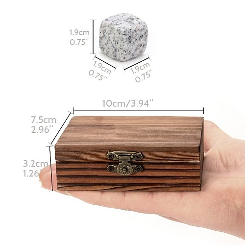 Whiskey Stones Set - 9 Granite Whiskey Rocks / Wooden Box / Velvet Bag / Reusable Cooling Ice Cubes