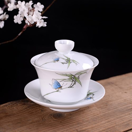 Hand Painted Blue and white porcelain gaiwan Tea tureen Chinese ceramic tea bowl set covered bowl with lid cup saucer
