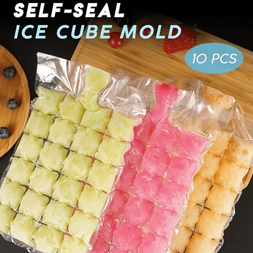 10Pcs 24 Grids Disposable Ice-Making Bags Frozen Ice Square Tray Mold Self Seal