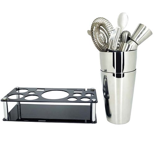 750/600/450ML Cocktail Shaker Multiple Pieces Bartender Kit with Stand Cocktail Recipe Stainless Steel Bar Tool Set