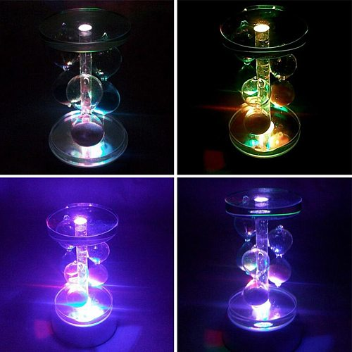 Romantic Decoration 4-LED Round Luminous Base Laser Light Stand Holder Cocktail Crystal Glass Transparent Object Durable Display