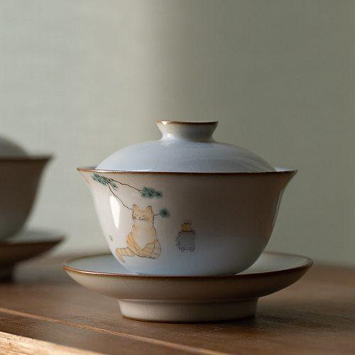 LUWU ceramic gaiwan cute cat porcelain tureen 160ml