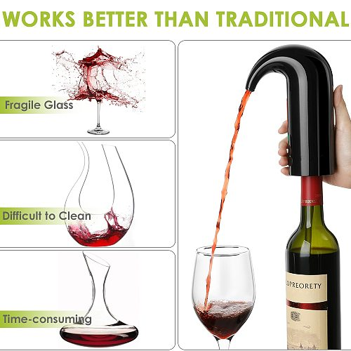 Electric Wine Pourer Wine Aerator Portable Pourer Instant Wine Decanter Dispenser Pump One-Touch Automatic USB Rechargeable