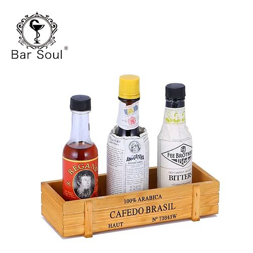 Bar Soul Bitter Bottle Storage Box European Retro Cocktail Garnishes Holder Creative Mesa Tools Bar Decoration Bartender Tools