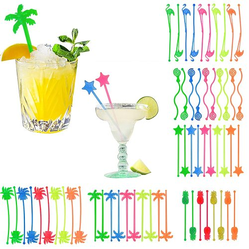 10pcs Flamingo Pineapple Star Drink Wine Decor Cocktail Swizzle Sticks Drink Stirrer Hawaiian Beach Party Decor Bar Supplies