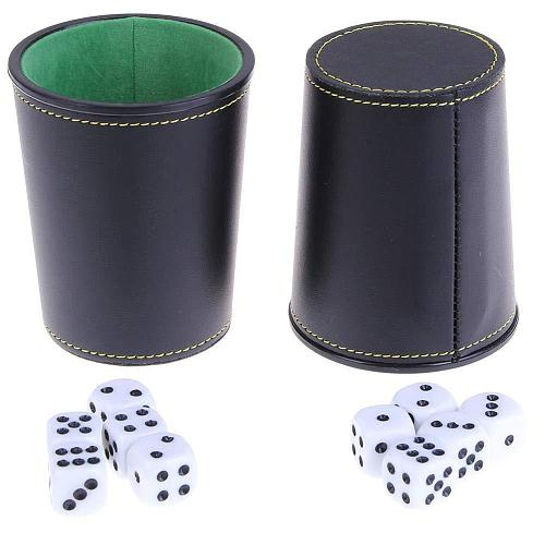 Durable Faux Leather Flannel Dice Cup with 5 Dice Bar KTV Entertainment Bar Accessories Beer KTV Entertainment Dice Cup Hot Sale