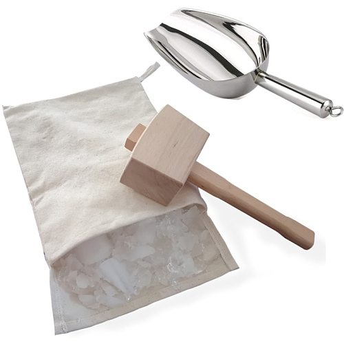 Ice Mallets and Ice Bag-Wooden Hammers and Cotton Sacks for Crushing Ice,Bartender Kits, Bar Tools Kitchen Accessories