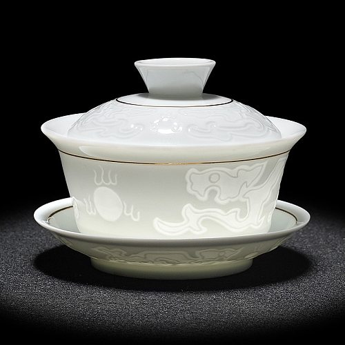 2020 Chinese Hand Painted Tea Set Tureen Dehua High quality white porcelain gaiwan tea porcelain pot set for travel Fast Cup