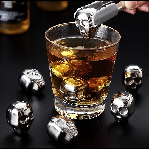 Stainless Steel Skull Shape Ice Cube Drink Cooler Wine Party Whiskey Stone Beer Ice Cooler Cube for Bar Kitchen