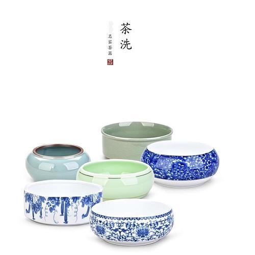 Stoneware Large Tea Wash Chinese Tea Set Pen Wash Blue and White Ceramic Accessories Tea Ceremony