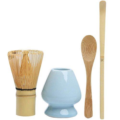 Matcha Whisk Set Bamboo Matcha Tea Set of 4 Including 100 Prong Matcha Whisk (Chasen), Traditional Scoop (Chashaku), Tea Spoon,
