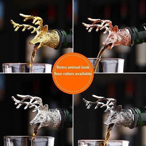 Zinc Alloy Deer Stag Head Wine Pourer Unique Wine Bottle Stoppers Wine Aerators Bar Tools Get Together Gift