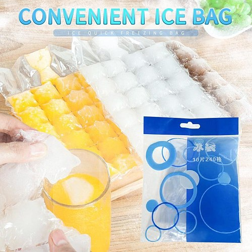 10 pcs 24 Grids Plastic Ice Bag One-time Clear Popsicle Bags Ice Cream Storage Bags ice pack for ice cube mould #35