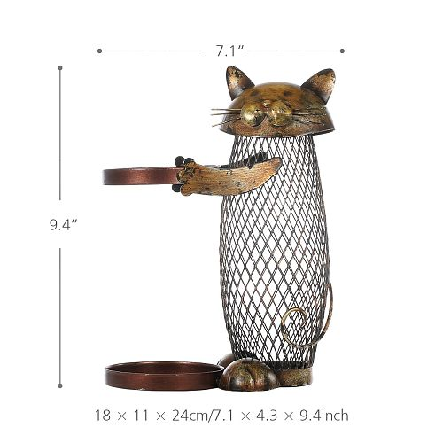 Kitchen Bar Wine Bottle Holder Cat Shaped Wine Holder Metal Craft Christmas New Year Gift Animal Wine Stander Home Decoration