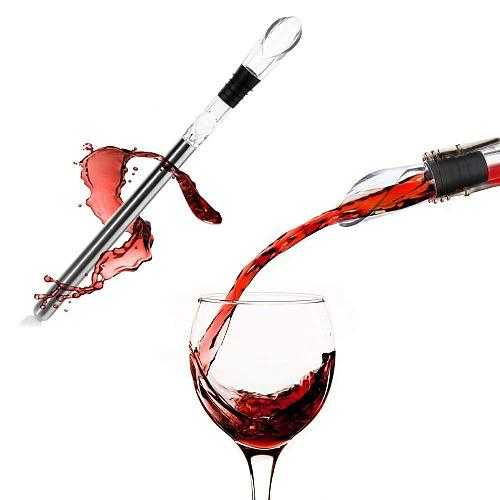 Stainless Wine Pourer with Chill Rod Wine Cooler Wine Cooling Rod