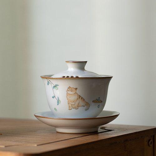 LUWU ceramic gaiwan with filters cute cat porcelain tureen 150ml