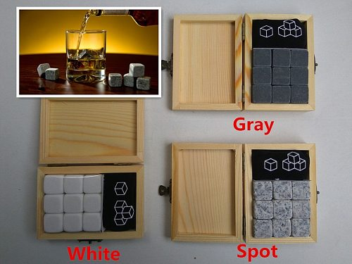 9Pcs/lot Whiskey Stones with Wooden Box& Velvet Bag Whiskey Coolers Rocks Stones Cube Stone