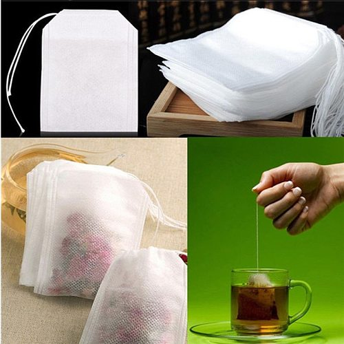 100 Pcs 5x7cm Disposable Empty Tea Bags Bags for Tea Bag with String Heal Seal Tea Infuser Non-woven Paper Filter Teabags