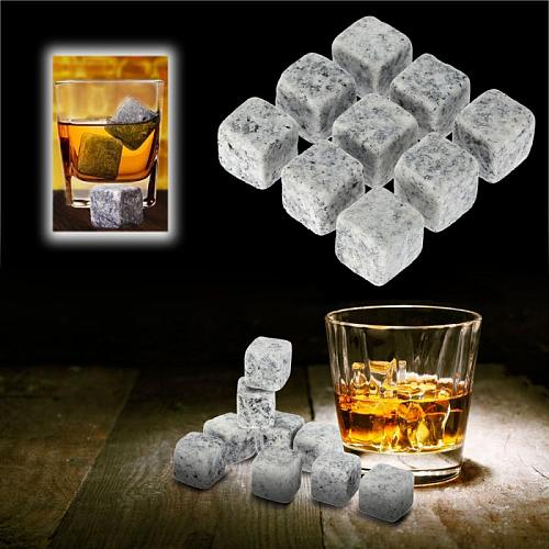 9pcs Reusable Natural Whiskey Champagne Stones Sipping Ice Cube Whisky Stone Rock Cooler Wedding Gift Christmas Bar Tool
