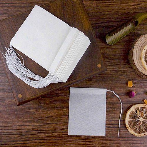 100Pcs/Lot Paper Tea Bags Filter Empty Drawstring Teabags for Herb Loose Tea